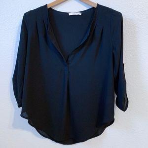 LUSH Sheer Split Neck Blouse in Black